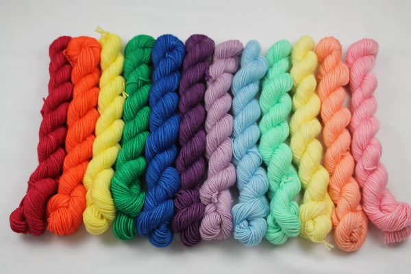 Ultimate Rainbow Victorious 12 skein Mini Kit fingering weight yarn