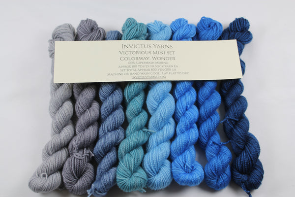Wonder Set of 8 Mini Skeins Victorious fingering weight yarn