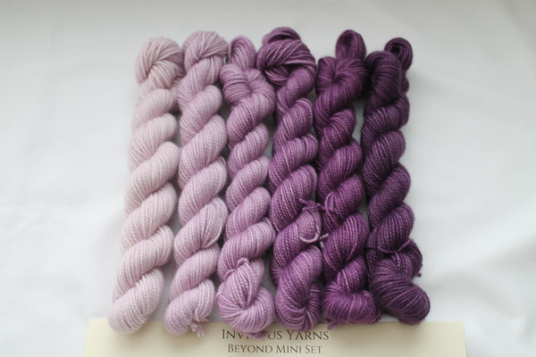 Purples Beyond MCN Mini Kit fingering weight yarn