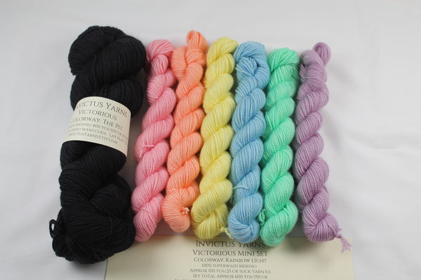 Rainbow Light/The Pit Victorious Gray Area Shawl Kit fingering weight yarn