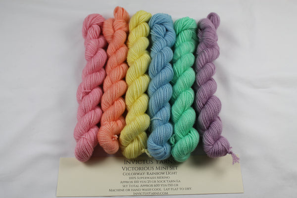 Rainbow Light Victorious Mini Kit fingering weight yarn