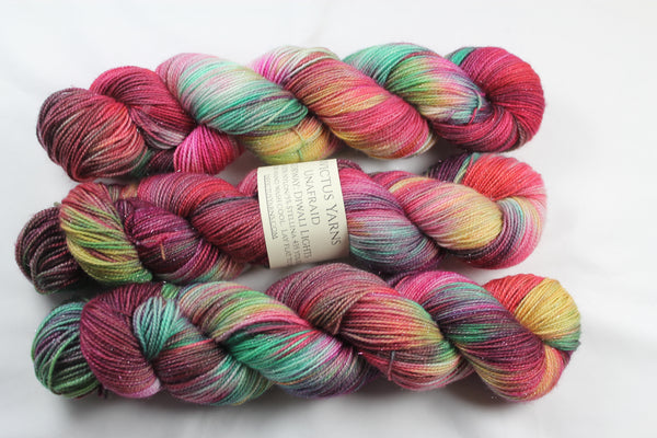 Diwali Lights Unafraid Superwash Merino/Nylon/Stellina fingering weight shimmer sock yarn