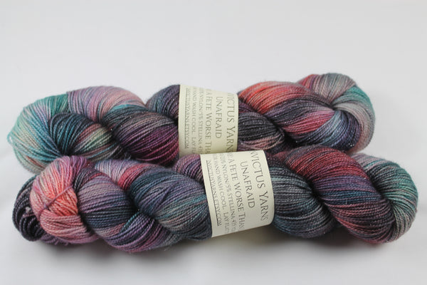 A Fete Worse Than Death Unafraid Superwash Merino/Nylon/Stellina fingering weight shimmer sock yarn