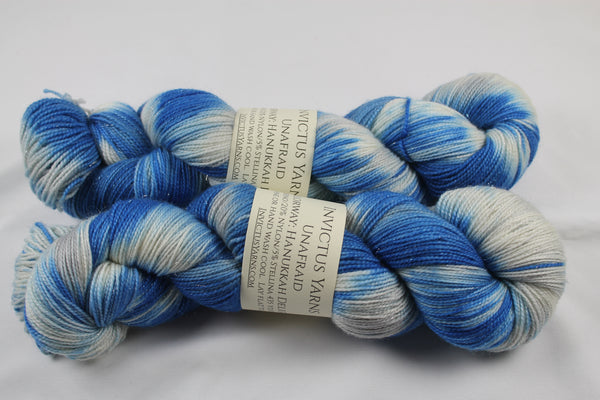 Hanukkah Delight Unafraid Superwash Merino/Nylon/Stellina fingering weight shimmer sock yarn