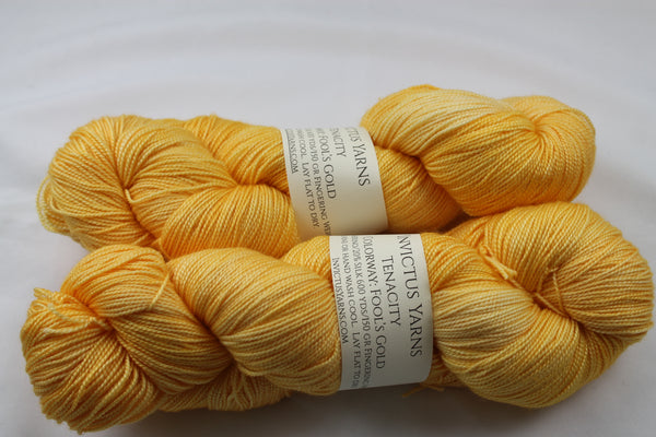 Fool's Gold Tenacity 80/20 merino/silk fingering weight yarn shawl length skein extra length