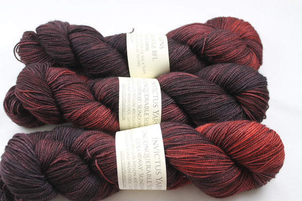 Sundown Unconquerable Sole BFL SW BFL/nylon fingering weight sock yarn