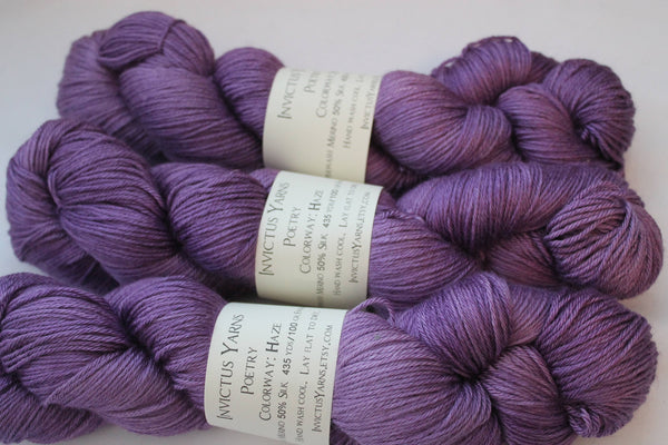Haze Poetry merino/silk fingering weight yarn