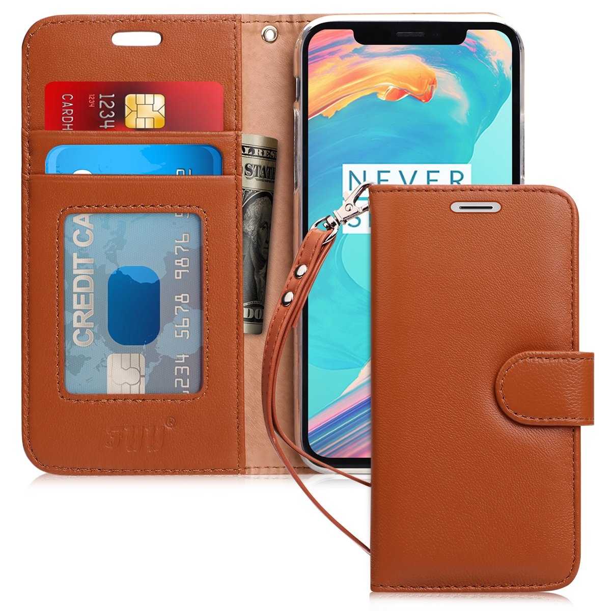 "Genuine Leather Wallet Case for iPhone Xs (5.8"") 2018/iPhone X/10"