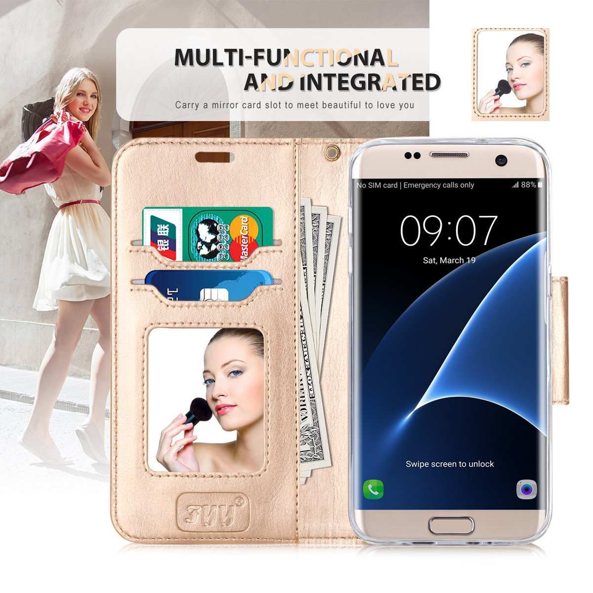 Wallet Case with Cosmetic Mirror for Galaxy S7 Edge