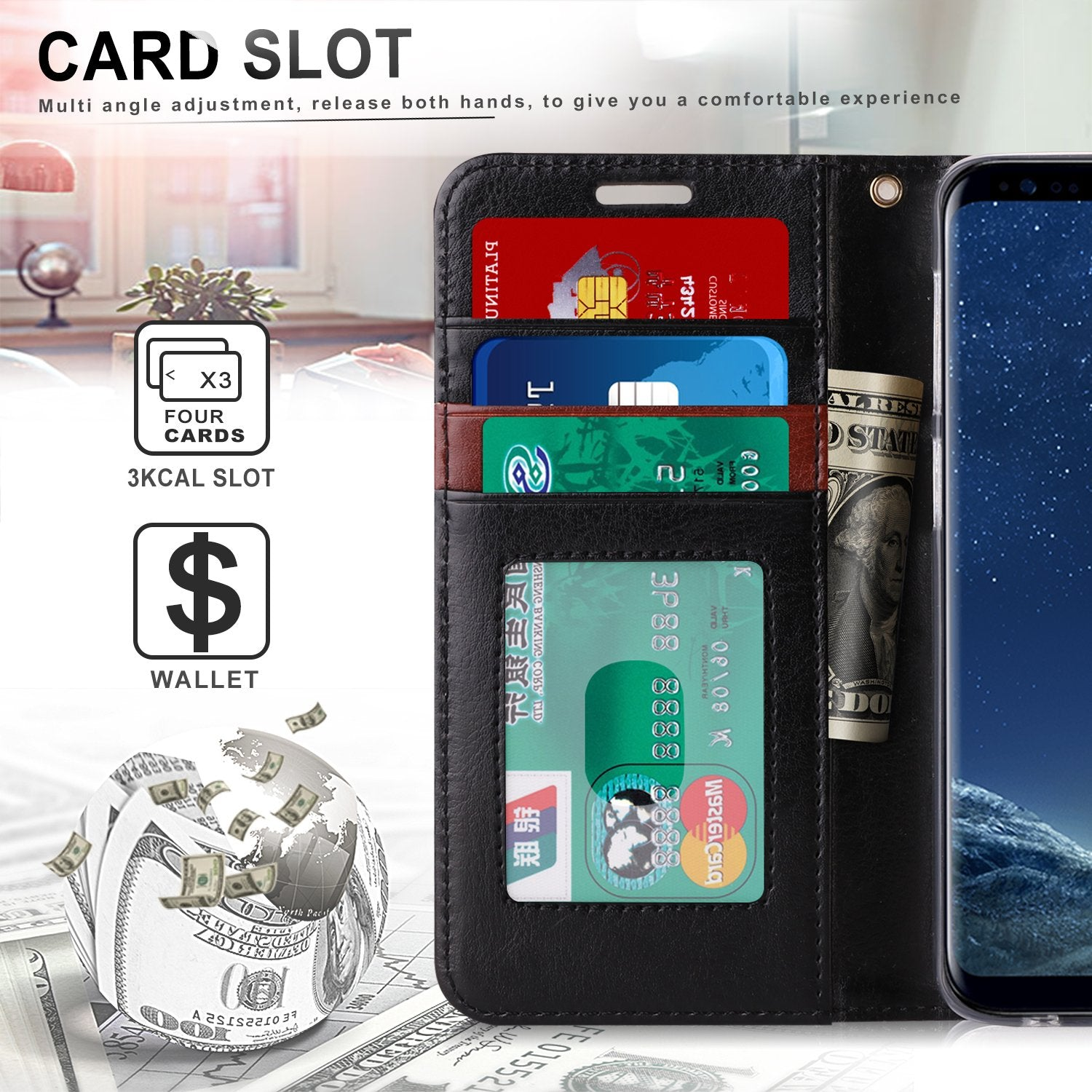PU Leather Wallet Case for Galaxy S9 Plus