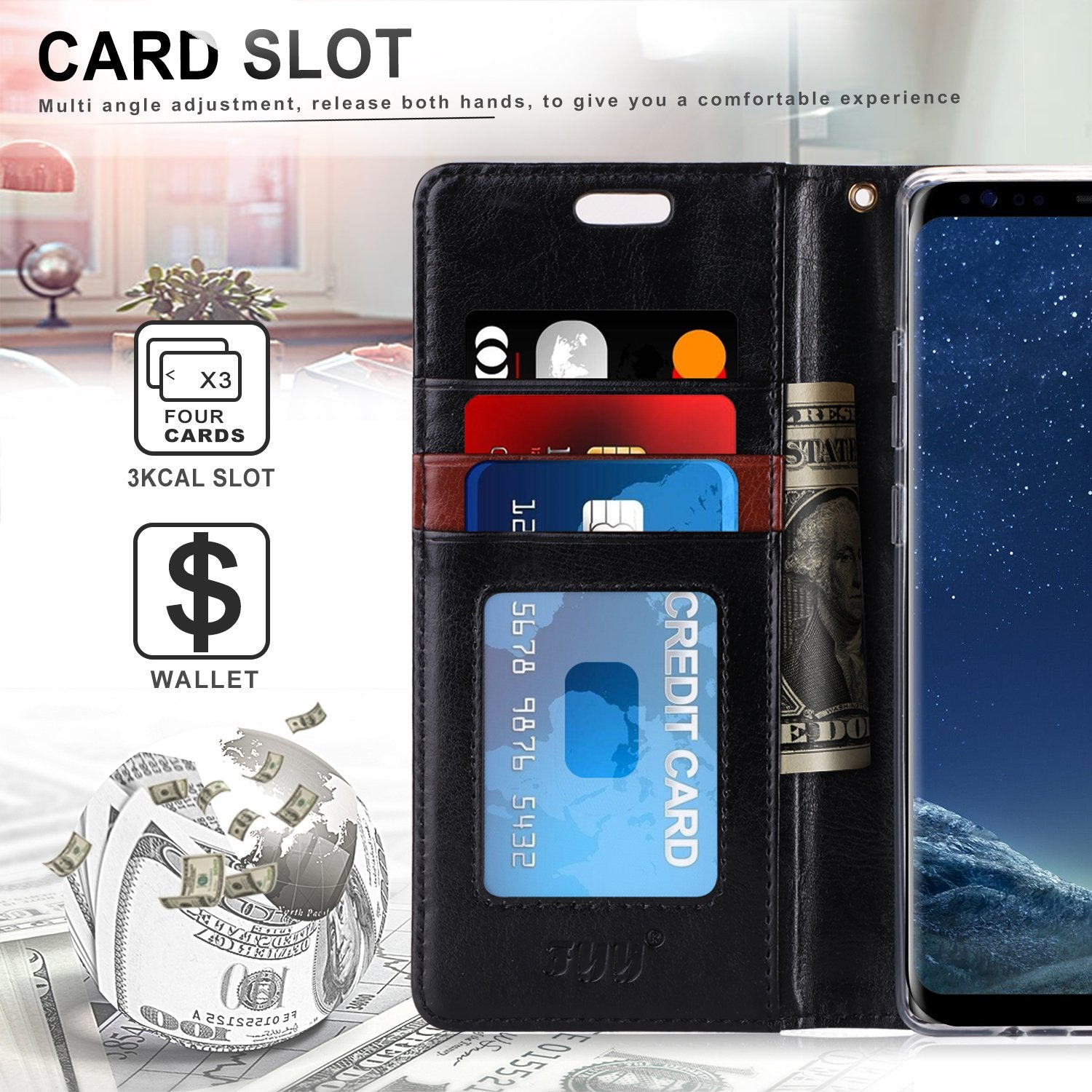 Wallet Stand Cover for Galaxy S8 Plus