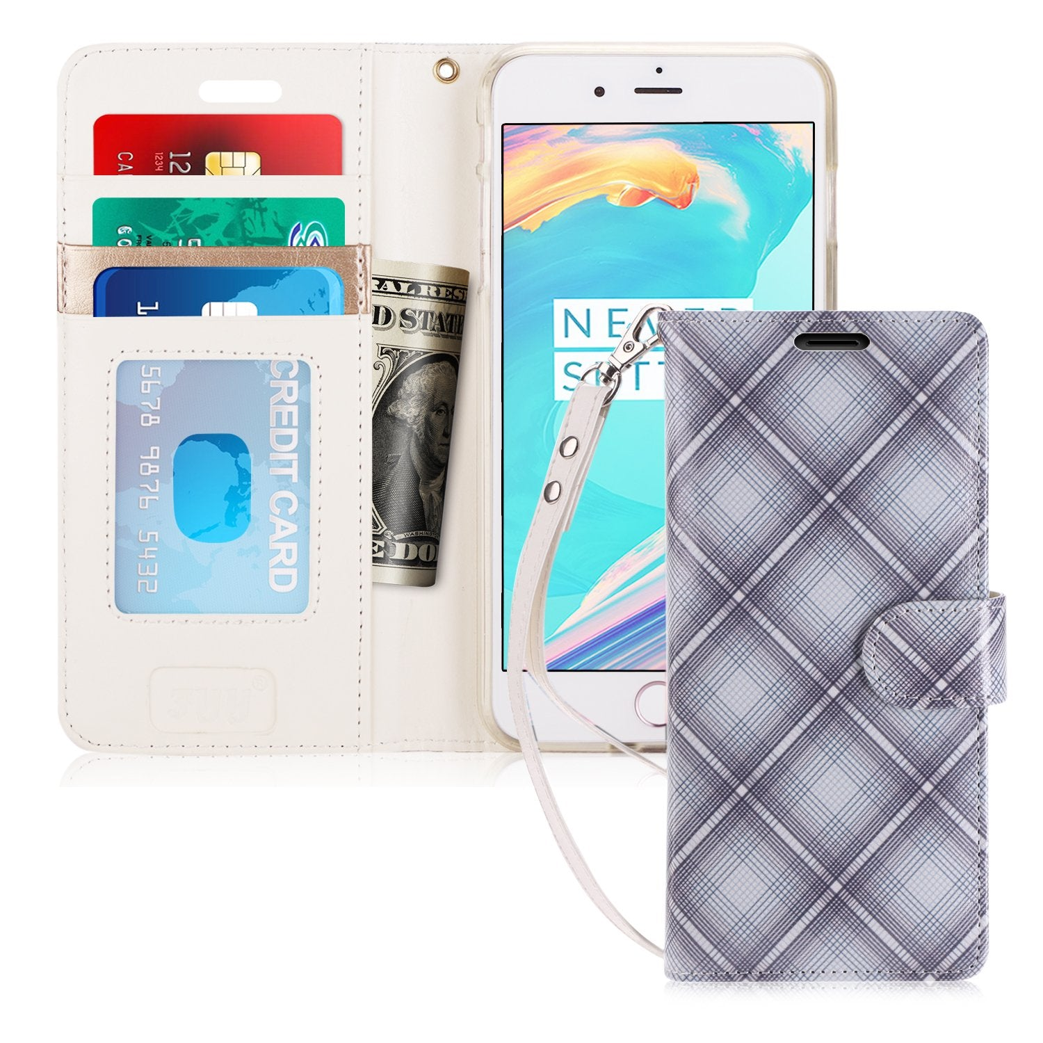 Flip Folio Leather Wallet Case for iPhone 8/7 Plus