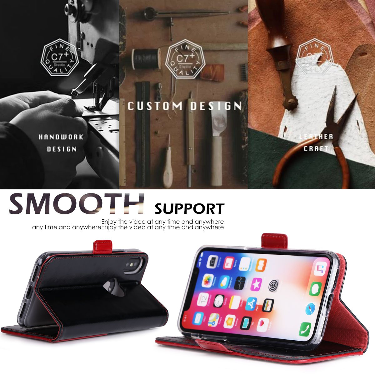Luxurious Genuine Leather Wallet Case for iPhone X/iPhone 10