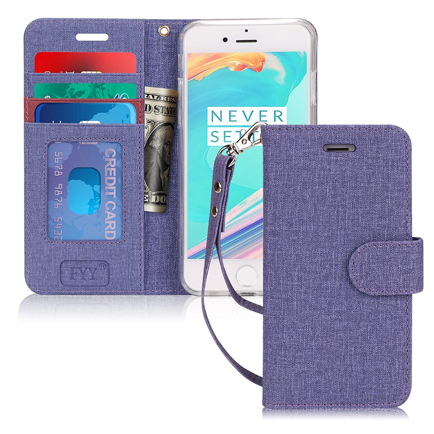 Flip Folio Canvas Wallet Case for iPhone 6/6S Plus