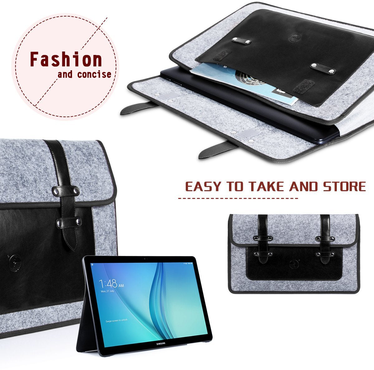 PU Leather and Durable Felt Case for Galaxy View 18.4