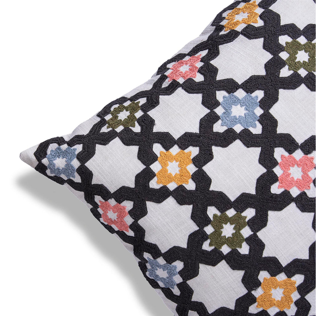 Embroidered White cushion cover with trellis pattern 18 x 18 corner