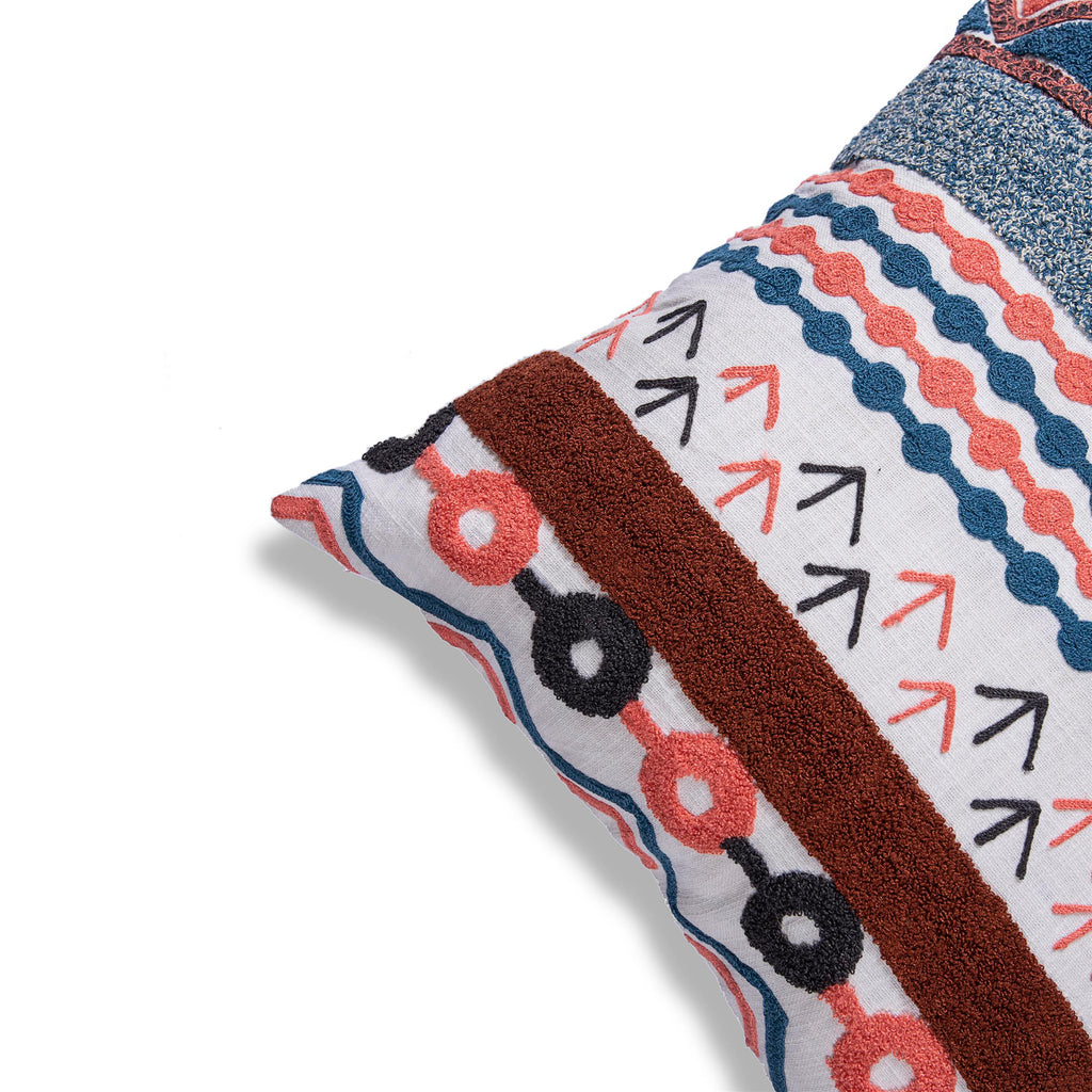 Decorative embroidered cushion cover with Peach and Blue geometric pattern 18 x 18