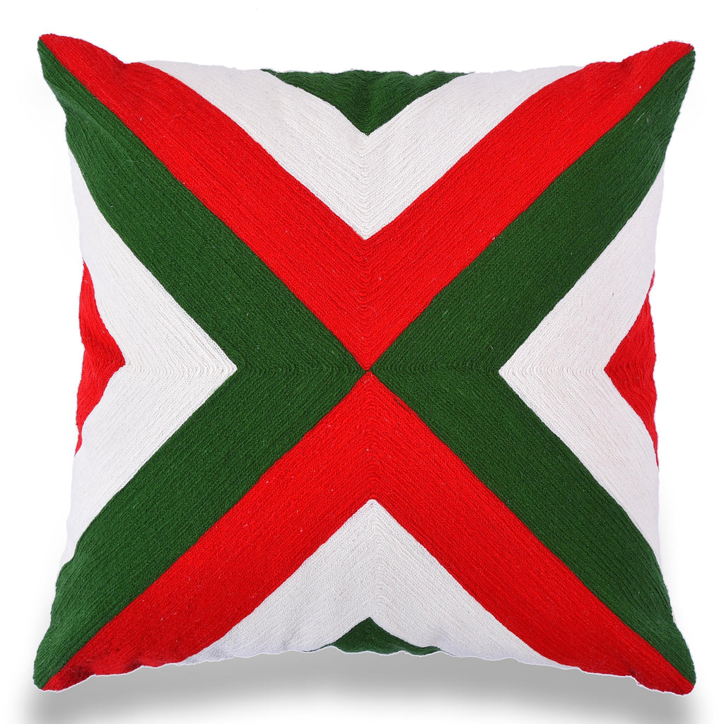 Boho Chic Decor fully Embroidered Cotton Outdoor Cushion Geometric 18 X 18 Home Decorative Sofa Couch Red green Pillow Cover Christmas Decor