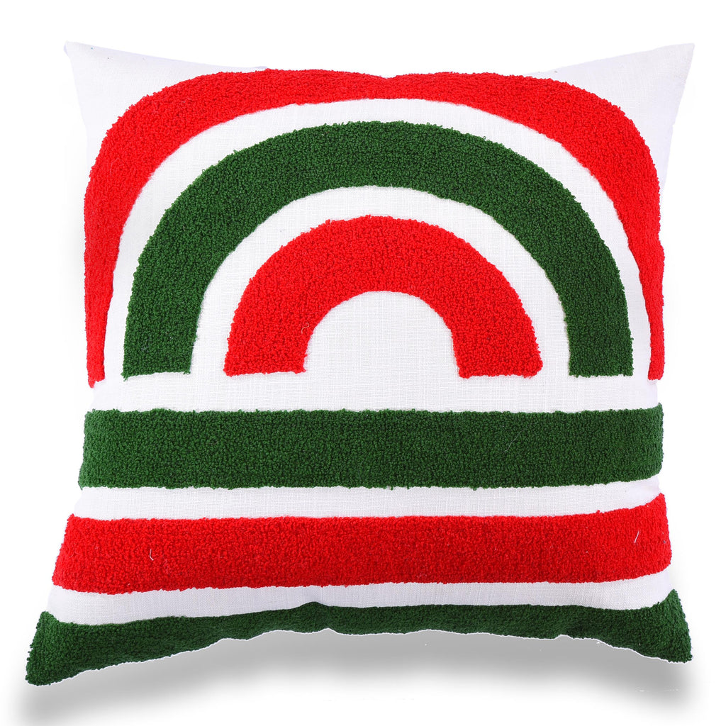 Boho Chic Decor fully Embroidered Cotton Outdoor Cushion Geometric 20 X 20 Home Decorative Sofa Couch Red green Pillow Cover Christmas Decor