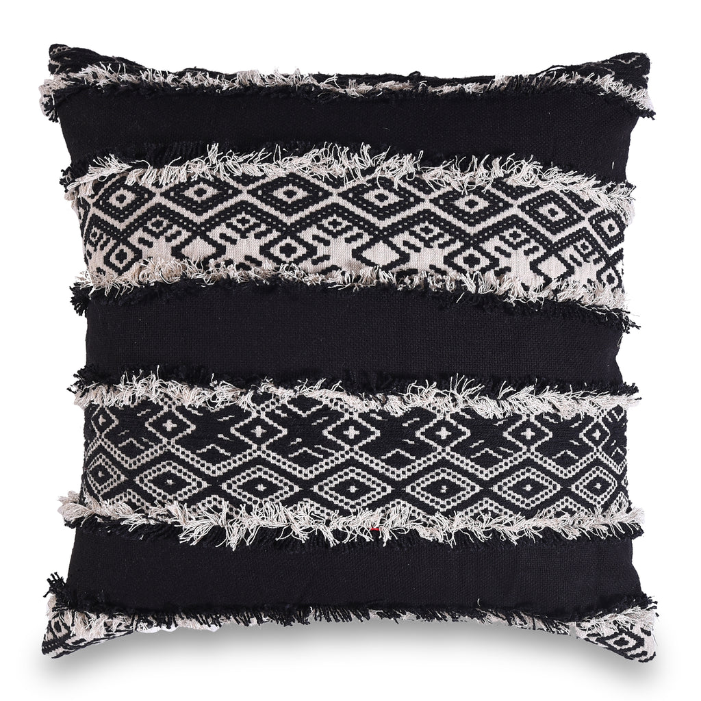 Bohemian Jacquard Black and White Pillow Cover 18 X 18 Rich Home Decorative Pillow Throw Bed Sofa Couch Pillow Christmas Boho Chic Decor