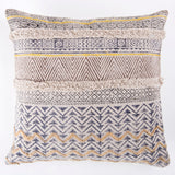 Cho-cho embroidered tufted Printed Cotton cushion cover in Grey and Brown 20 x 20