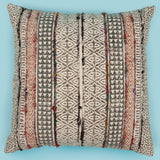 Cho-cho embroidered triangle Printed Cotton cushion cover 18 x 18