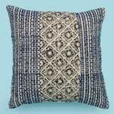 Bohemian Indian Decorative Turquoise 20 x 20 Pillow, Boho Embroidered Cushion Cover, Printed Cotton Pillow Cover, Rustic Pillow Throw Pillow