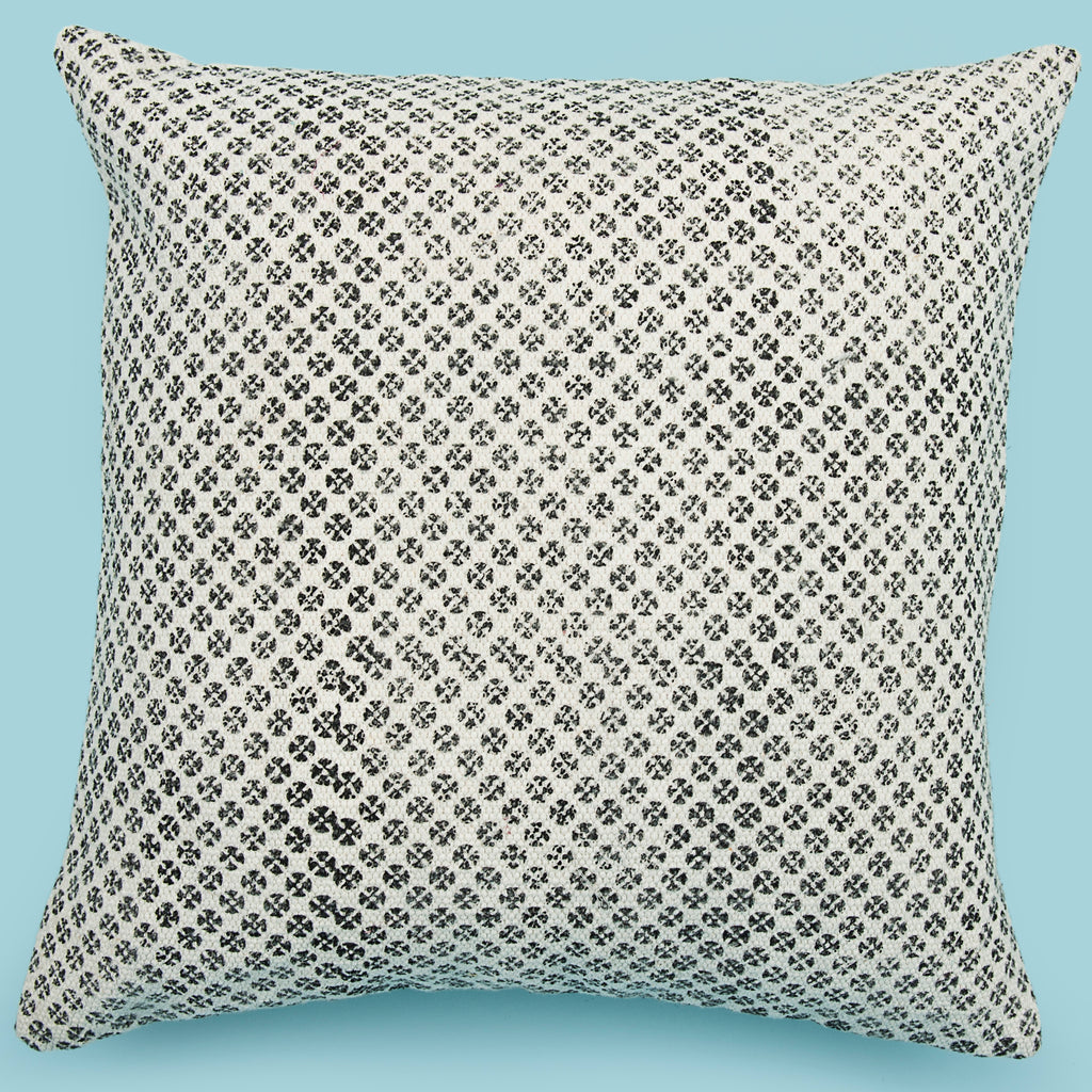 Decorative scattered print pattern cushion cover White and black 18 x 18