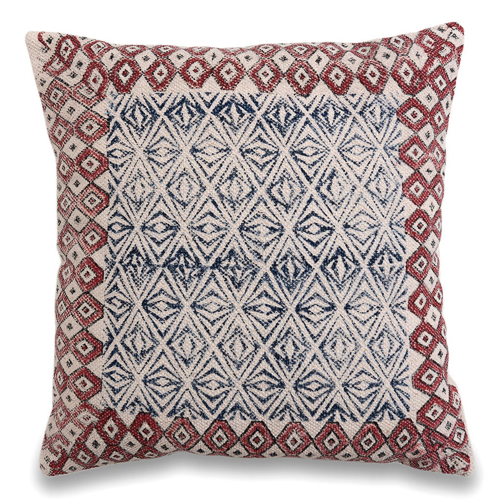 Boho Chick traditional Indian Cotton Dhurrie Pillow 20 x 20 Sofa Cushion Cover Printed Pillow Cover Rustic Sofa Pillow Decorative Rug Pillow