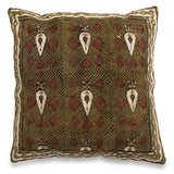 Handmade Indian Cotton Dhurrie Decorative 18 x 18 Pillow, Sofa Cushion Cover, Boho Green Printed Pillow Cover, Rustic Pillow, Rug Pillow