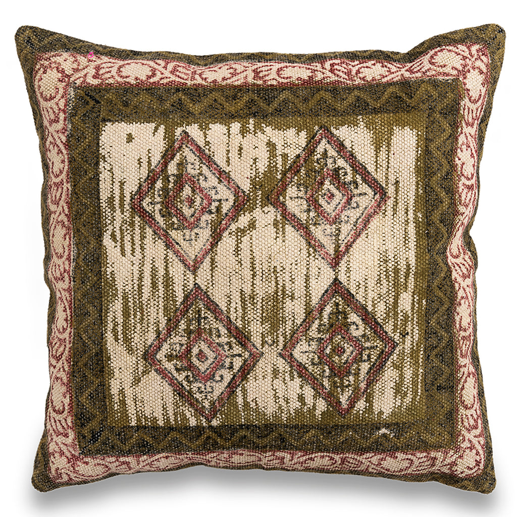 Boho Indian handmade Dhurrie 20 x 20Pillow,Traditional Block Print Cushion Cover, Decorative Throw Pillow, Rustic Pillow Cover, Sofa Cushion