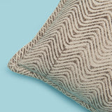 Decorative brown waves printed cushion cover with handstitched border 20 x 20