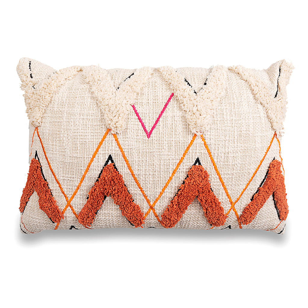 Handmade Bohemian Tufted Cotton Pillow Cover 16 X 16 Pillow Decorative Cushion Cover Throw Pillow Cover Sofa Pillow Boho Chic Pillow Cover