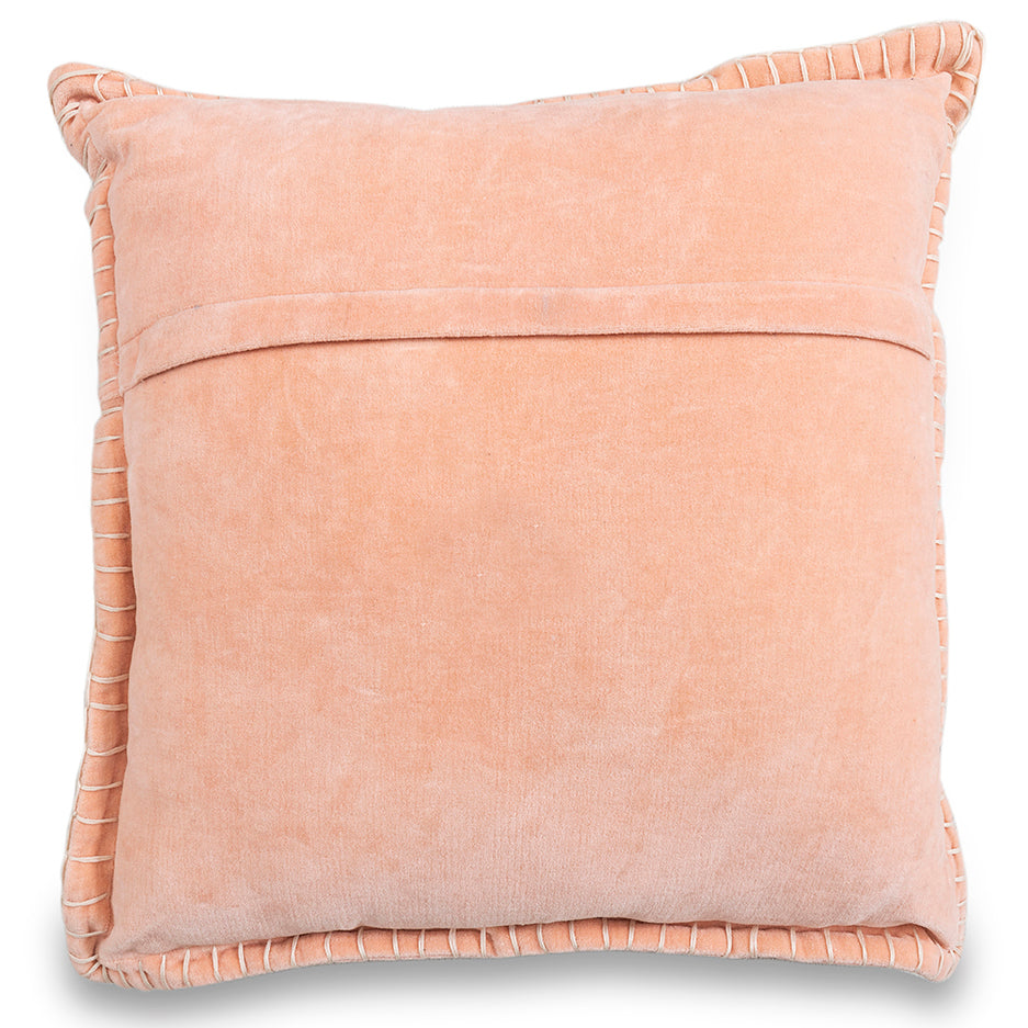 Decorative valvet pink peach cushion cover with handstitched border 20 x 20 back