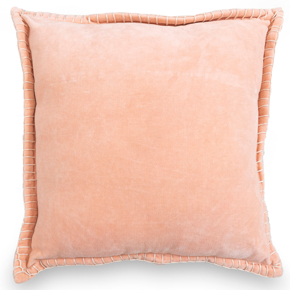 Decorative valvet pink peach cushion cover with handstitched border 20 x 20 front