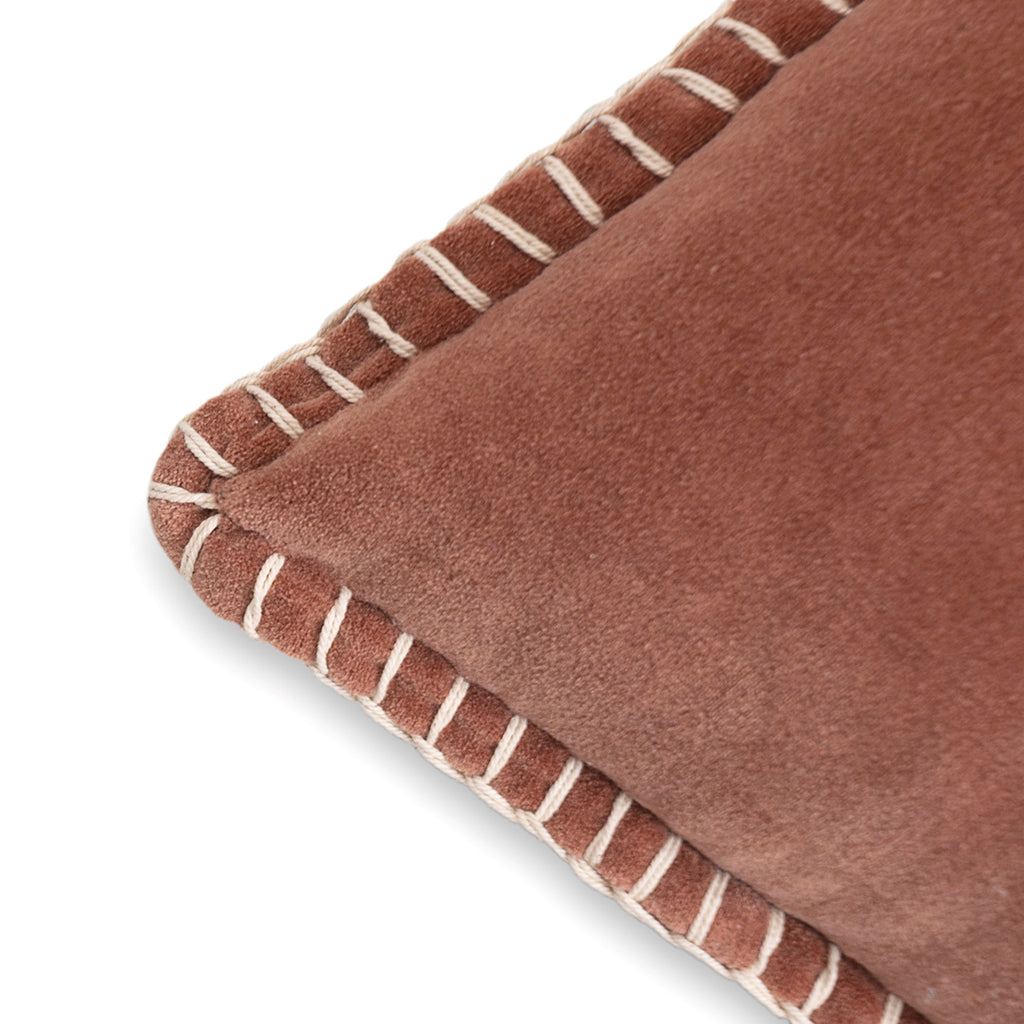 Decorative valvet brown cushion cover with handstitched border 20 x 20 corner
