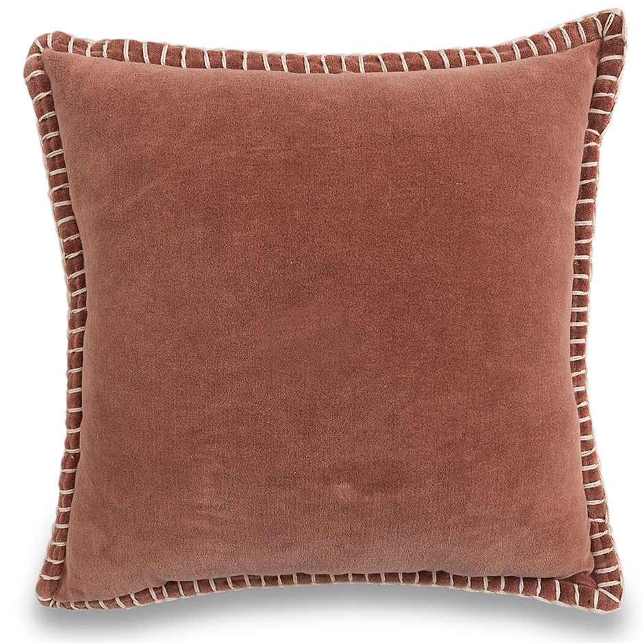 Decorative valvet brown cushion cover with handstitched border 20 x 20 front