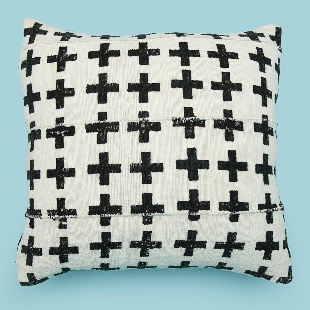 White 18 x 18 Mud Cloth Throw Pillowcase Block Printed Pillow cover Black plus Cotton Cushion African mudcloth Pillow Tribal Cushion Cover