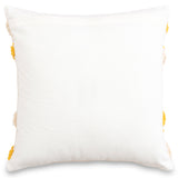 Embroidered decorative yellow and white moroccan cushion cover 18 x 18 back