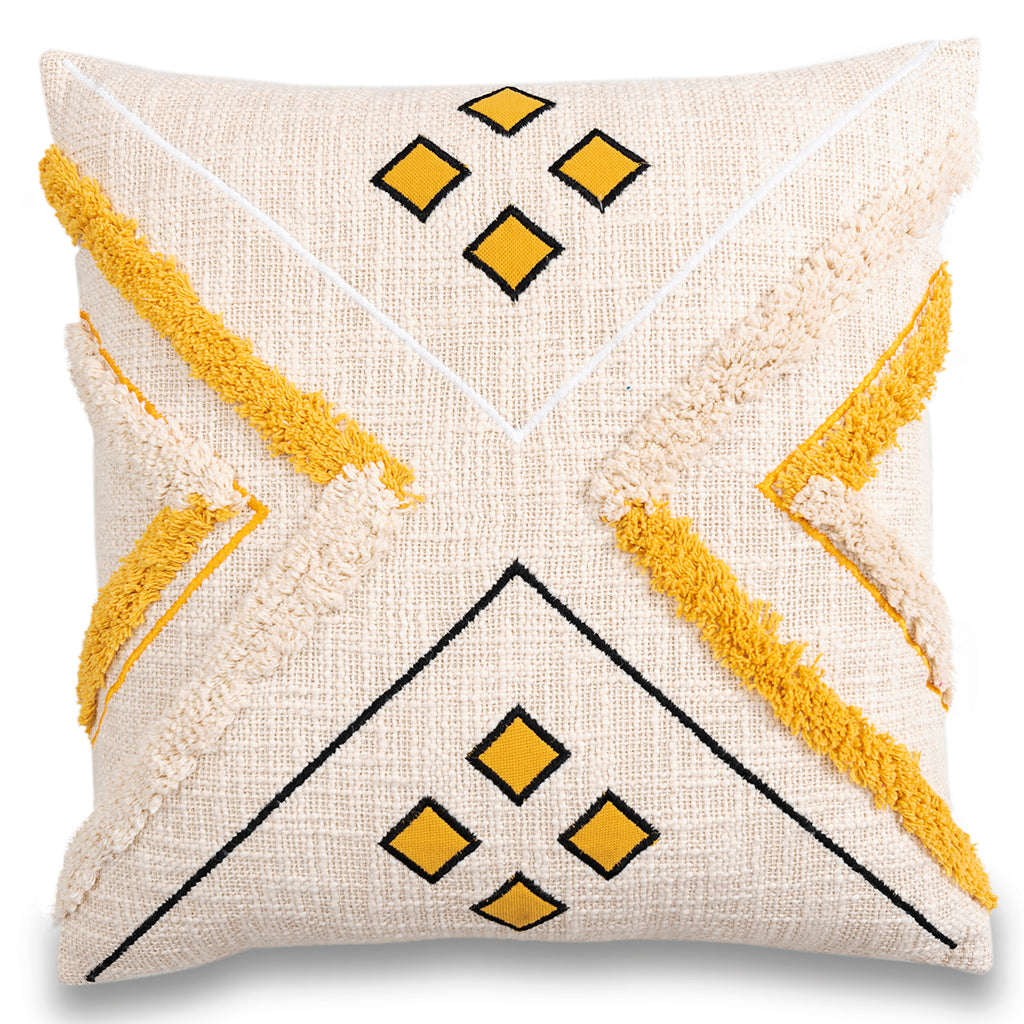 Embroidered decorative yellow and white moroccan cushion cover 18 x 18 front