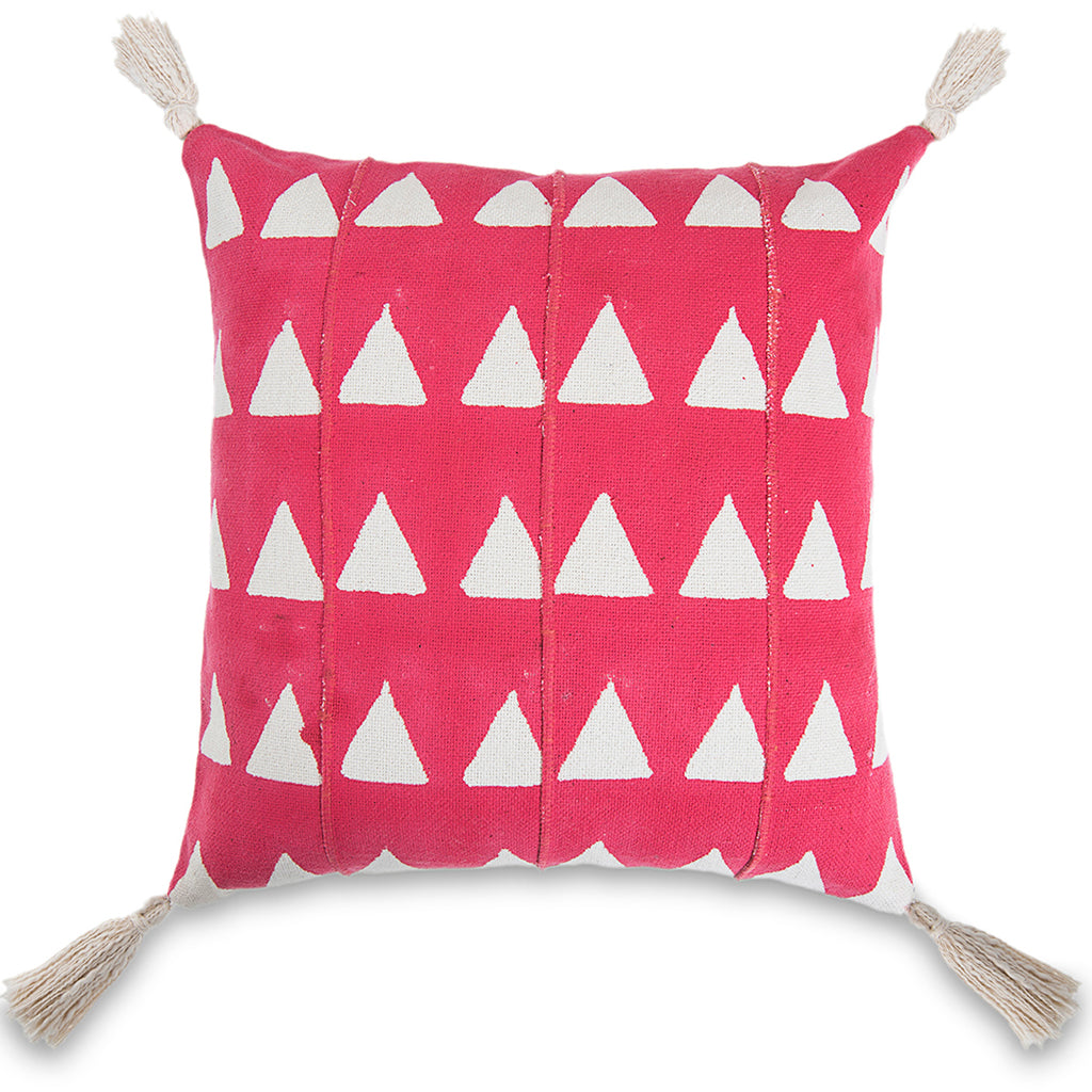 Beautiful Pink 18 x 18 Mud Cloth Throw Pillowcase Triangle Block Printed Pillow cover Cotton Cushion African mudcloth Pillow Christmas Decor