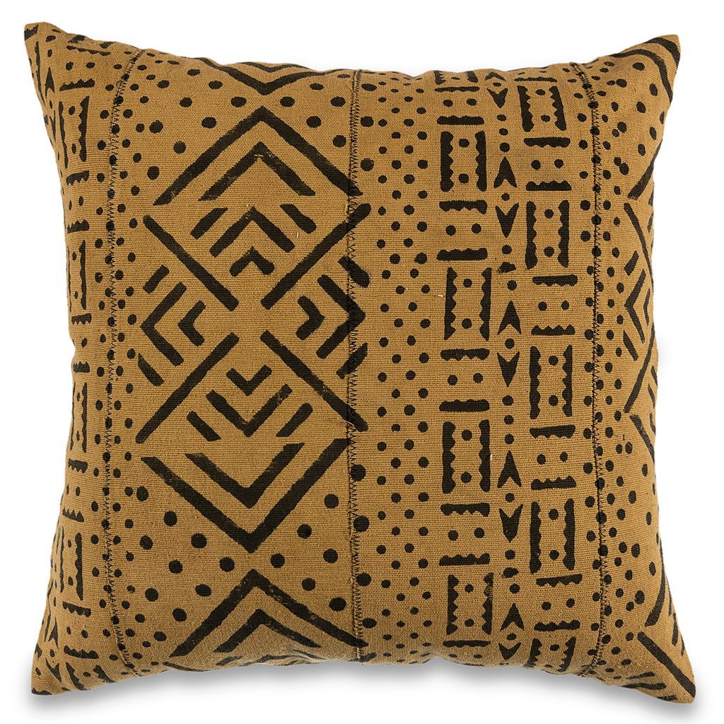 African mud cloth Pillow 18 x 18 Mud-Cloth Throw Pillowcase Block Printed Mustard Yellow Pillow cover Cotton Cushion Tribal Cushion Cover