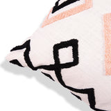 White Decorative Embroidered pillow cover with geometric pattern 18 x 18