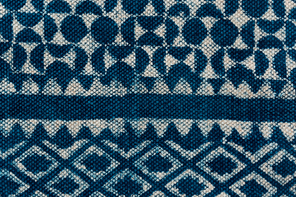 Indigo Cotton Dhurrie Rug Handmade 4 X 6 Rug Traditional Block Printed Carpet Boho Picnic Rug Hand Woven Prayer Rug Beach Rug Floor Mat