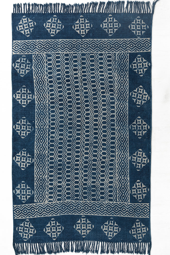 Indigo Cotton Dhurrie Rug Handmade 4 X 6 Rug Traditional Block Printed Carpet Bohemian Picnic Rug Hand Woven Prayer Rug Beach Rug Floor Mat