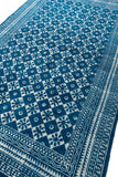 Handmade Indigo Cotton Dhurrie Rug 4 X 6 Rug Traditional Floral Printed Carpet Boho Picnic Rug Hand Woven Prayer Rug Beach Rug Floor Mat