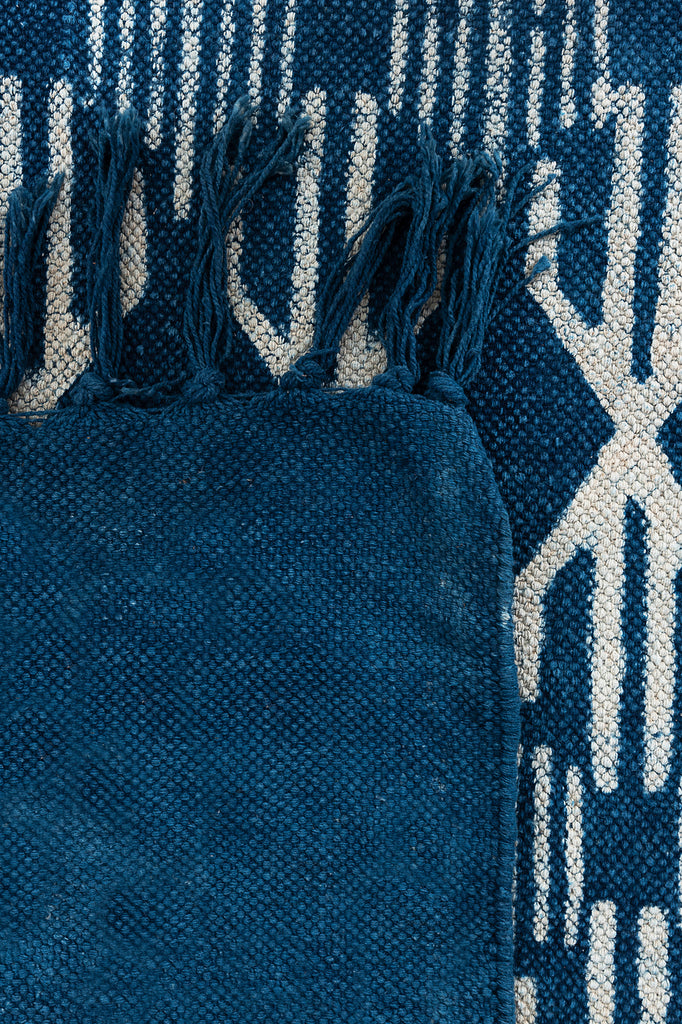 Traditional Block Printed Carpet Indigo Cotton Dhurrie Rug Handmade 4 X 6 Rug Boho Picnic Rug Hand Woven Prayer Rug Floor Mat Tribal Rug