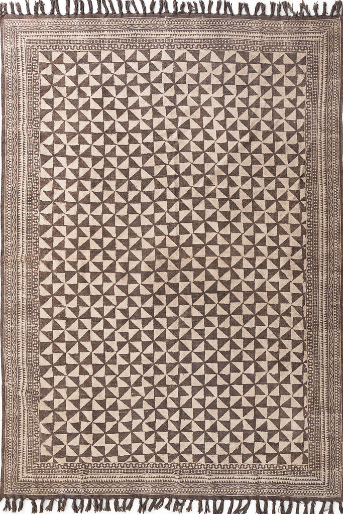 Traditional Block Printed Carpet Brown Cotton Dhurrie Handmade 6 X 9 Bohemian Picnic Rug Hand Woven Hand-Dyed Beach Rug Floor Mat Yoga Rug