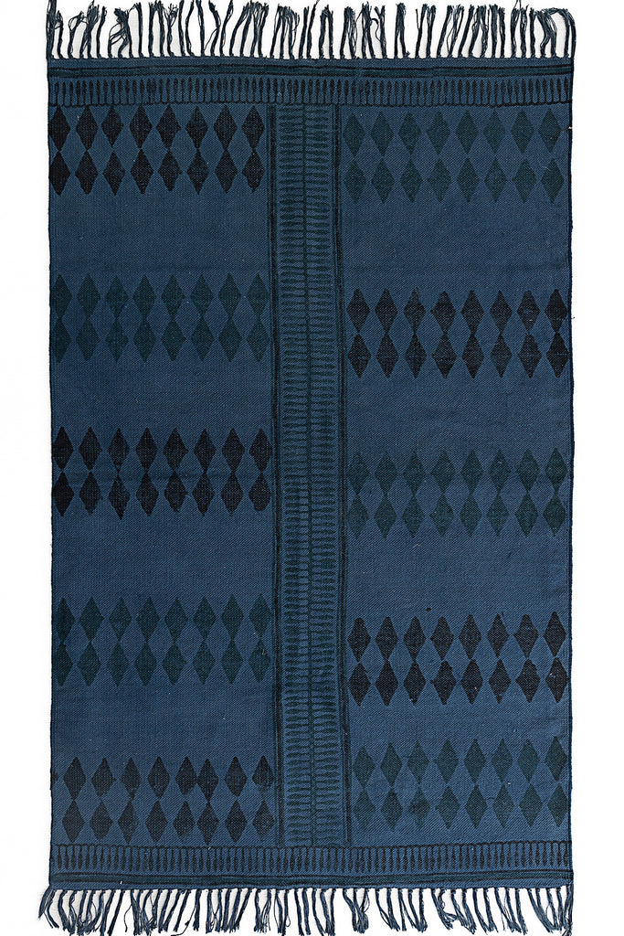 Handmade Indigo Cotton Dhurrie 4 x 6 Rug Traditional Block Printed Carpet Boho decor Picnic Rug Hand Woven Prayer Rug Beach Rug Floor Mat