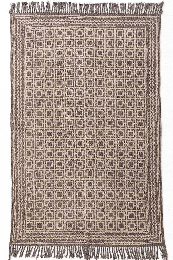 Traditional Block Printed Carpet Brown Cotton Dhurrie Rug Handmade 4 X 6 Rug Boho Picnic Rug Hand Woven Beach Rug Tribal Area Rug Floor Mat